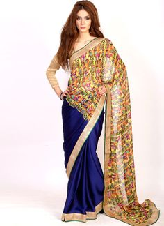 Chic Chiffon Satin Blue Casual Saree