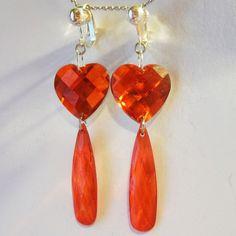 CLIP ON 2.25in RED HEART Acrylic  Handmade Non-Pierced Dangle Drop Earrings Z338 #Handmade #DropDangleClip or pierced www.juiceboxjewels.com  #Heartearrings #Love #handmadeearrings #Teardropearrrings #earrings #cliponearrings #nonpiercedearrings #juiceboxjewels
