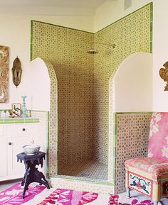 Moroccan, would be better if had Moroccan doorway shape at the top of the tile. there chair is awesome