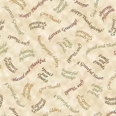 Give Thanks Blessing Fall Thanksgiving 100% cotton fabric by the yard Cream #QuiltingTreasures