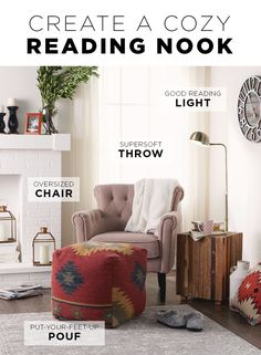 Let's fast forward to fall just to curl up in this cozy reading nook. Create your own space with a few key elements from Kohl's: HomeVance tufted armchair, Artisan Bennet pouf, Antique Pharmacy floor lamp and Cuddl Duds throw. Ready your home for fall at Kohl's.