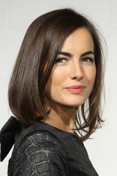 Silky, straight layers parted sideways for an elegant, formal look.