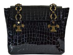 Tory Burch - Faux Croc Patent Leather Handbag - Black