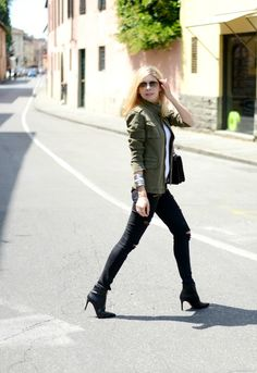 Street style look wearing: Anine Bing army jacket, Paige jeans, All saints t.shirt, Russell & Bromley Boots, Rayban sunglasses.