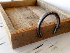Reclaimed Barn Wood Serving Tray W/ Horse Shoe Handles. $50.00, via Etsy.