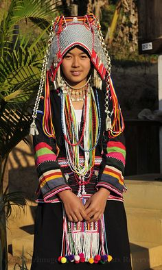 A beautiful Akha girl in her village near t he border of Myanmar & Thailand…