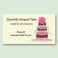 Designer cakes business card templates cakes baking business elegant pink and chocolate cake business card template wajeb Image collections