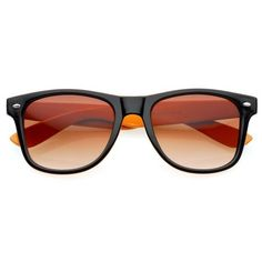 Two Tone Wayfarer Sunglasses - Splitz Brown-Black 80's. $9.95