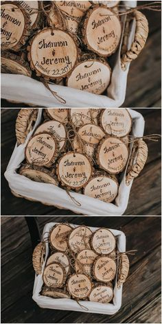 Personalized wedding favors! Rustic wedding favors! Wood slices, rustic, wedding, favors, Christmas ornaments, Christmas wedding favors! #WeddingFavors