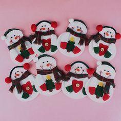 1pc Christmas Snowman Kitchen Tableware Holder Silverware Cutlery Pocket Bag | eBay