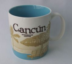 Starbucks Cancun Mexico Mug Coffee City Collector Skyline Seashell Blue NEW FS