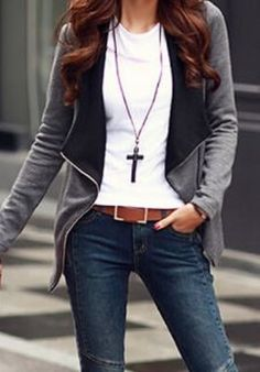 Chic Comfy Casual Weekend Outfit Idea! Grey + Black Trendy Turn-Down Collar Long Sleeve Zippered Cardigan