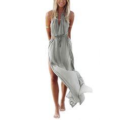 YOINS New Women Fashion Sleeveless Off Shoulder Long Dress Sexy Back Lace-up Side Split Hem Loose Beach Maxi Dress