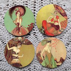 Deco Fashion -- Art Deco Ladies Mousepad Coaster Set