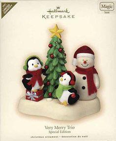 2007 Hallmark VERY MERRY TRIO Magic Ltd Ed Ornament SNOWMAN, PENGUIN *Priority   eBay