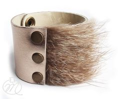 Leather bracelet golden with fur by Mikashka on Etsy, zł39.00