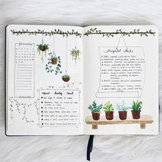 This is so beautiful, I love the water colour plant illustrations! @emmysdaydream I want some hanging plants like that in my bedroom! #notebooktherapy
