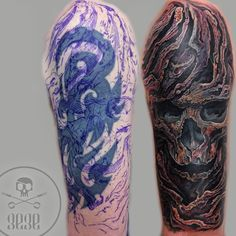 cover up tattoo by gege Tattoos Cover Up, Organic Tattoo, Skull Tattoos, Body Art, Ink, Instagram, Design, Body Mods, Design Comics