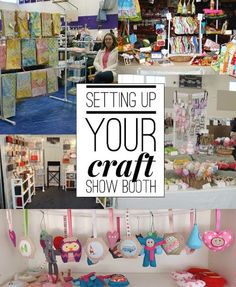 Craft Show Booth Set Up is so important at craft shows. Learn more tips on creating inventory and pricing products in order to have a successful craft show. The Sewing Loft corner display How to Set Up Craft Show Booths - The Sewing Loft Craft Show Booths, Craft Booth Displays, Craft Show Ideas, Display Ideas, Stall Display, Vendor Displays, Market Displays, Crafts To Sell, Diy Crafts