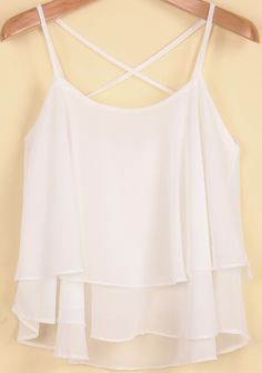 3cb09f3b7b47b Shop White Spaghetti Strap Double Layers Chiffon Vest online. Sheinside  offers White Spaghetti Strap Double