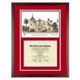 Santa Clara University California Diploma Frame with SCU Lithograph Art PrintBy Old School Diploma Frame Co.
