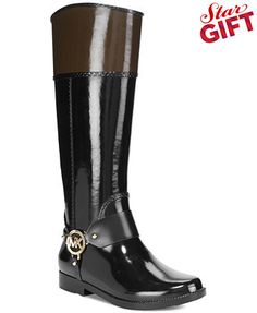 MICHAEL Michael Kors Fulton Harness Rain Boots! Got to get them in red to add color to your look!