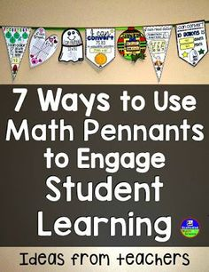 Math Pennants make awesome hands on activities for elementary, middle and high school and double as cool classroom decor for bulletin boards, along windows, in hallways or right across your classroom!