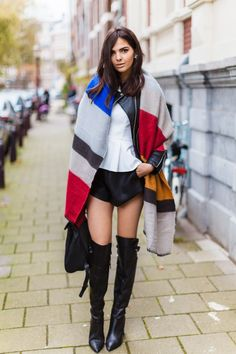 blanket scarf with leather shorts and white top
