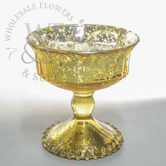 """Glass Pedestal Vase Gold 4.8"""""""