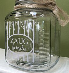 Personalized jar-wedding gift-housewarming by WritingOnTheWindow Wine Glass, Glass Vase, Custom Windows, House Warming, Wedding Gifts, Jar, Unique Jewelry, Tableware, Handmade Gifts