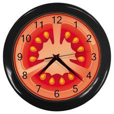 Tomato Slice Plastic Black Frame Battery Operated Novelty Kitchen Wall Clock #CustomMade #Novelty
