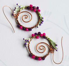 Secret Spring Garden Purple Fuchsia Crystal Wire Wrap Unique Flower Earrings