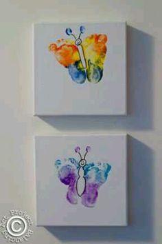Baby feet butterfly art.