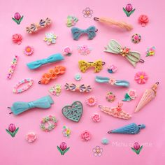 vintage barrettes and cabochons