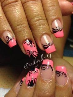 Yulie of Instagram's @NailsYulieG sparkled up these tips with a crisply painted natural design over hot pink polish., Fun French Manicures, Nail Art, Pink Tips, Cool Nail Designs, Nail Trends, Nail It! Magazine by noemi