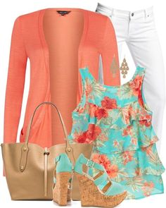 Cute floral top with matching bright cardigan and shoes.  Don't care for the white jeans on me tho :/ Stitch Fix