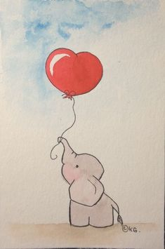 The red-hearted baby elephant. Watercolor on 10 x 15 format paper. - The red-hearted baby elephant. Watercolor on 10 x 15 format paper. Postcard or small illustration f - Pencil Art Drawings, Animal Drawings, Easy Drawings, Drawing Sketches, Drawing Ideas, Cute Baby Drawings, Small Drawings, Doodle Art, Art Mignon
