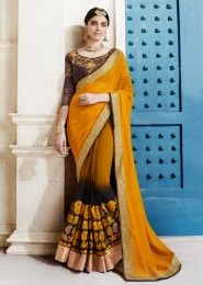 Party Wear Mustard Georgette Embroidered Work Saree