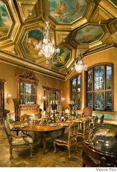 Dining room at Tranquilty, the house that Hilfinger built in Tahoe
