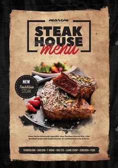 Buy Steak Menu by monggokerso on GraphicRiver. Steak Menu Flyer File Features : Size + Bleed area CMYK / 300 dpi Easy to edit text Well organized PSD f. Food Graphic Design, Food Menu Design, Food Poster Design, Steak Shop, Steak Menu, Brochure Food, Restaurant Poster, Burger Menu, Food Promotion