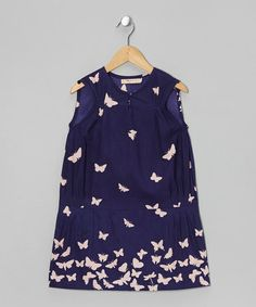 Take a look at this Navy Butterfly Drop-Waist Dress - Toddler & Girls by textures on #zulily today!