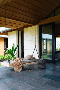 This outdoor dark stone tile makes a modern and minimalistic statement, plus it hides dirt and wear!