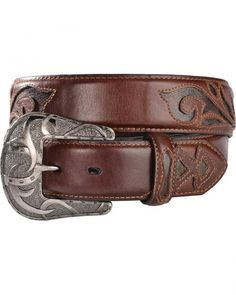 Red Ranch Hand Burnished Distressed Inlay Western Belt