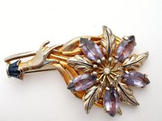 Vintage Flower Hand Rhinestone Brooch by TheJewelryLadysStore