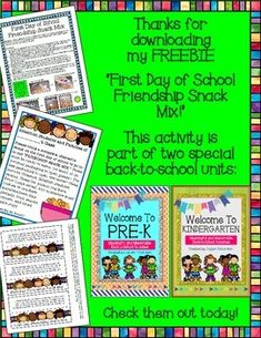 This is a perfect first day snack to accompany your lesson about celebrating and accepting each other's differences! The kids loved the treat, and learned a lot in the process! This FREEBIE is part of two special back-to-school units: Beginning Of School, First Day Of School, Back To School, Preschool Friendship, Snack Mix Recipes, Literacy Games, Free Teaching Resources, Classroom Management, Phonics