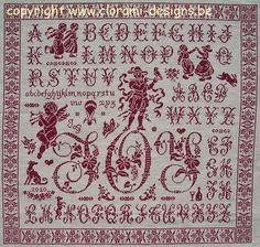 Joy Sampler - Marquoir rouge au point de croix de Clorami Designs. www.clorami-designs.be