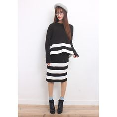 d/s by Drive Store Stripe Details Rib Knit Top & Skirt Co-Ords