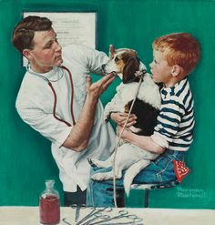 Norman Rockwell (1894-1978)  The Veterinarian (1961)  21 X 20 in.  oil on canvas