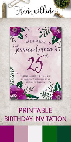 Birthday Invitation Printable, Floral Birthday Party Invitations, Digital File - Purple Flowers Invitation - pinned by pin4etsy.com
