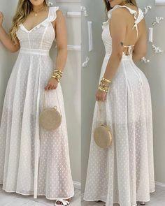 Maxi Dress With Slit, White Dress, Trendy Outfits, Dresses, Style, Fashion, Stylish Dresses, Valentines Day Weddings, Fashion Dresses